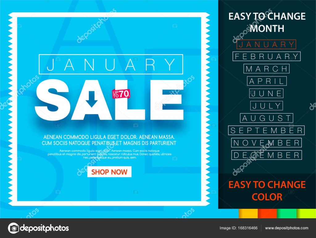 Sale banner for each month. January sale 70%. Easy change month and ...