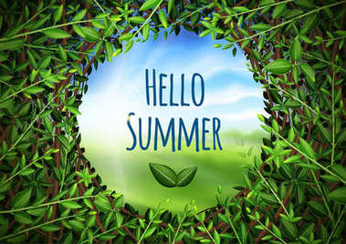 Magic poster with inscription hello summer. View through a hole in the bushes. Holiday and Summer Camp poster. Vector stock eps 10