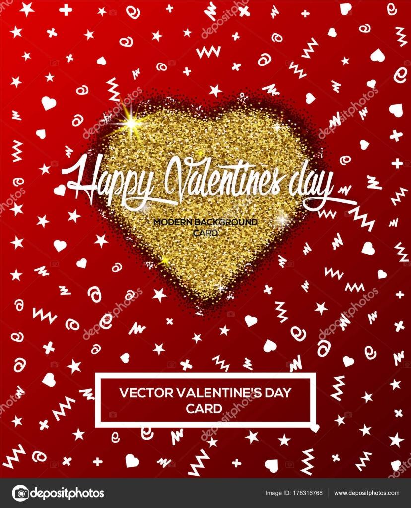 Happy Valentinstag Grußkarte oder Poster mit goldenen Glitzer Herzen ...