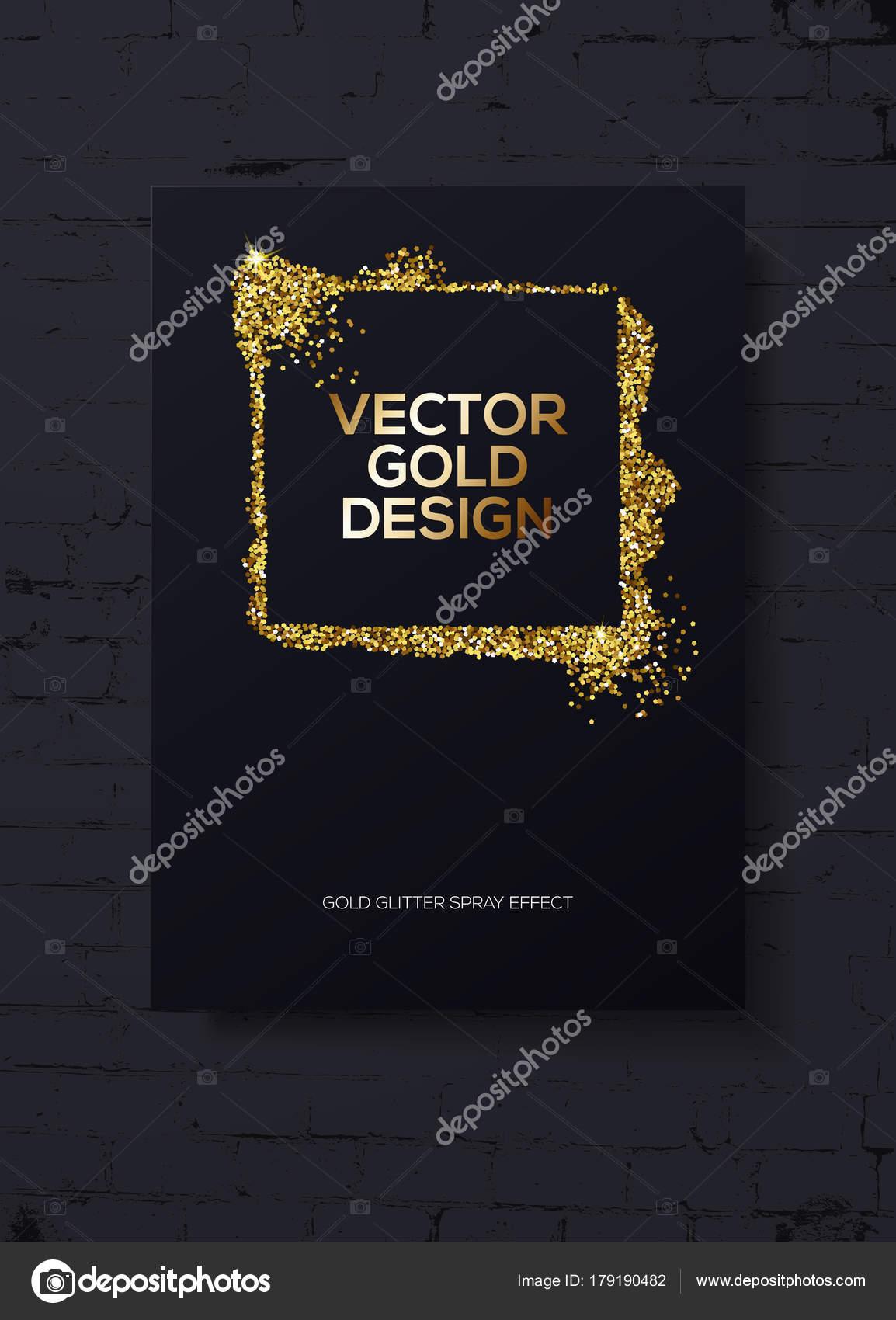 Trendy modern mockup design with golden sparks on black brick wall ...
