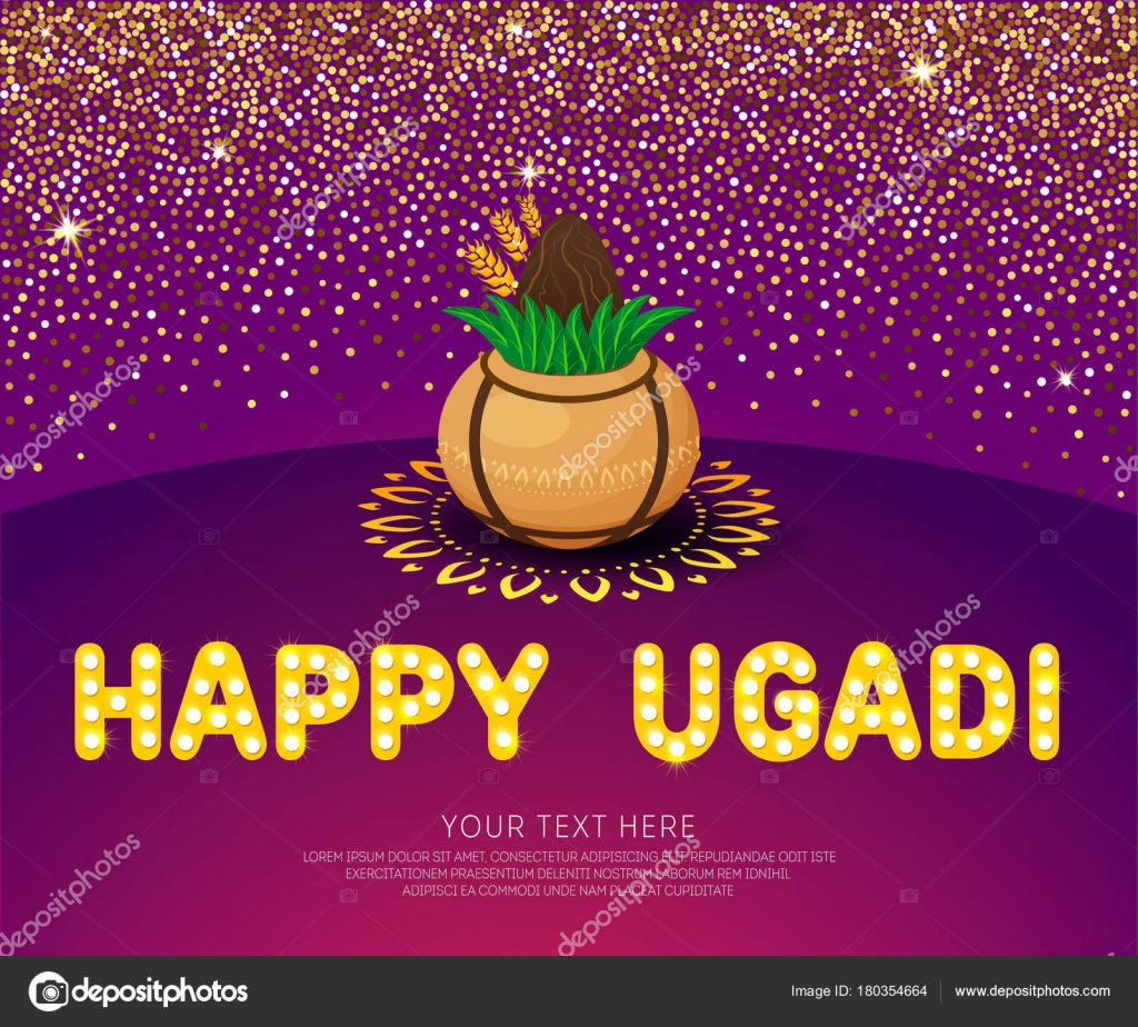 Happy ugadi template greeting card for holiday gold pot with happy ugadi template greeting card for holiday gold pot with coconut on glitter confetti background kristyandbryce Images