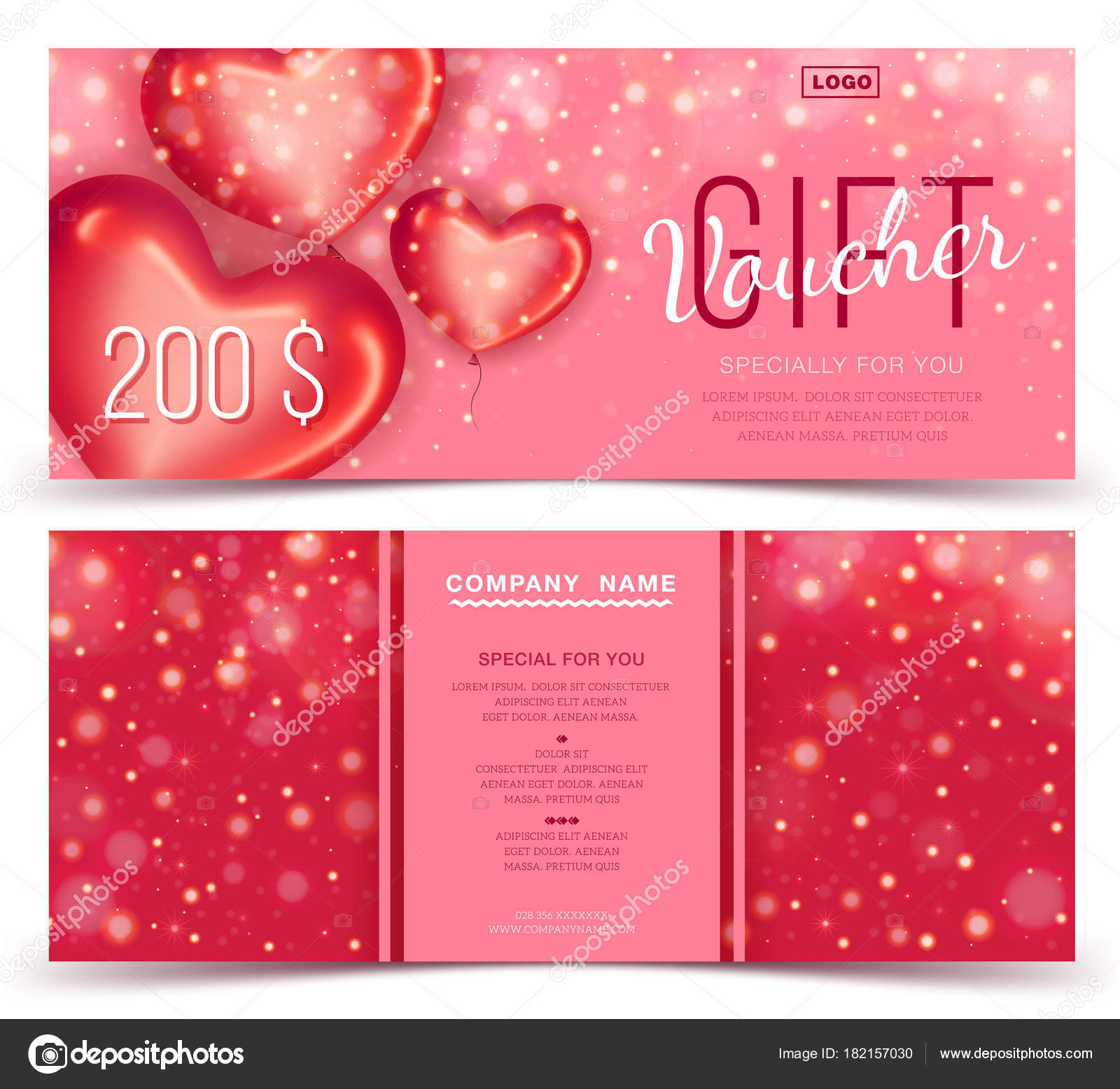 gift voucher template with red hearts 200 concept for gift coupon