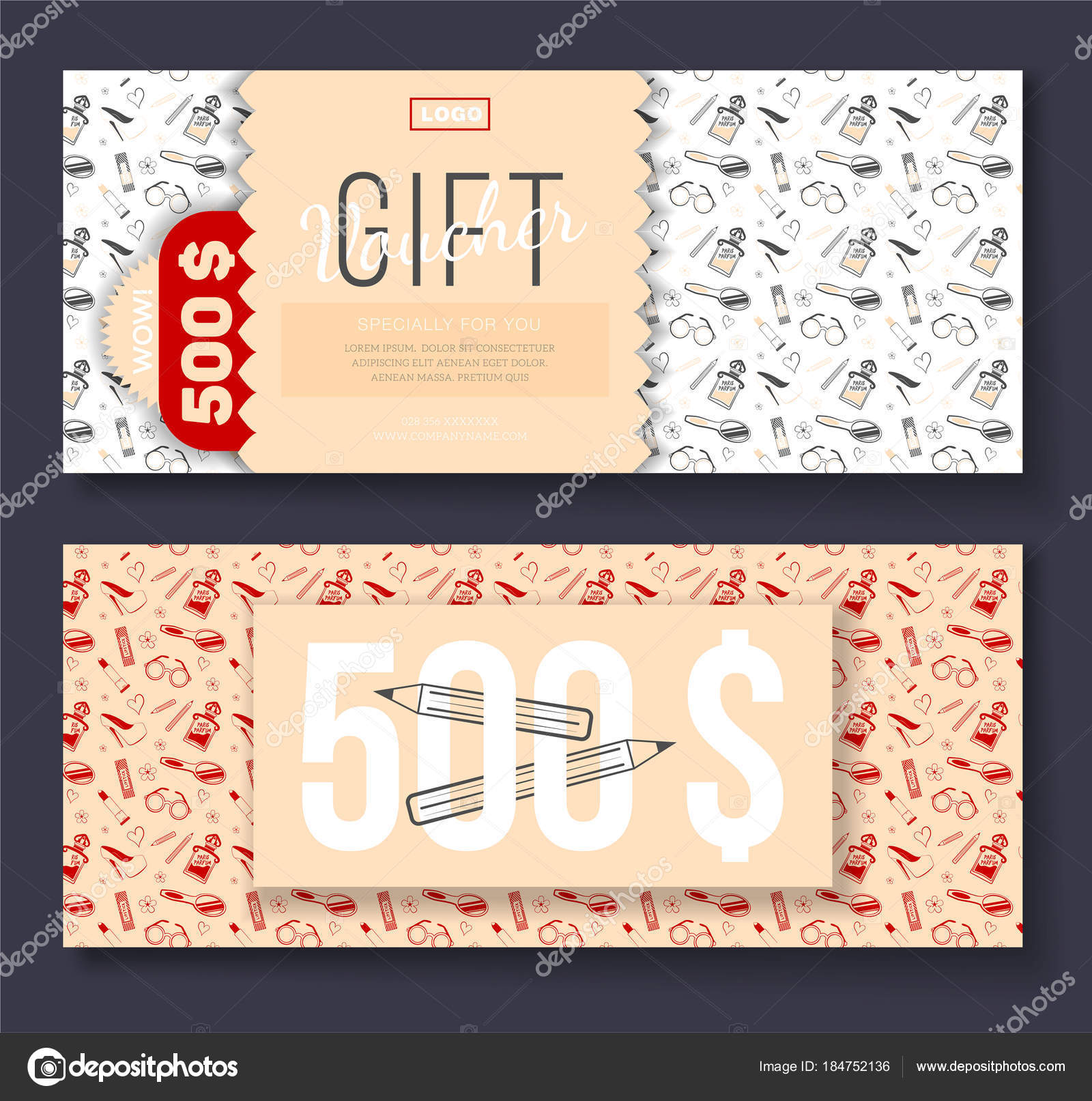 Vector gift voucher with cosmetic icons ornament background for ...