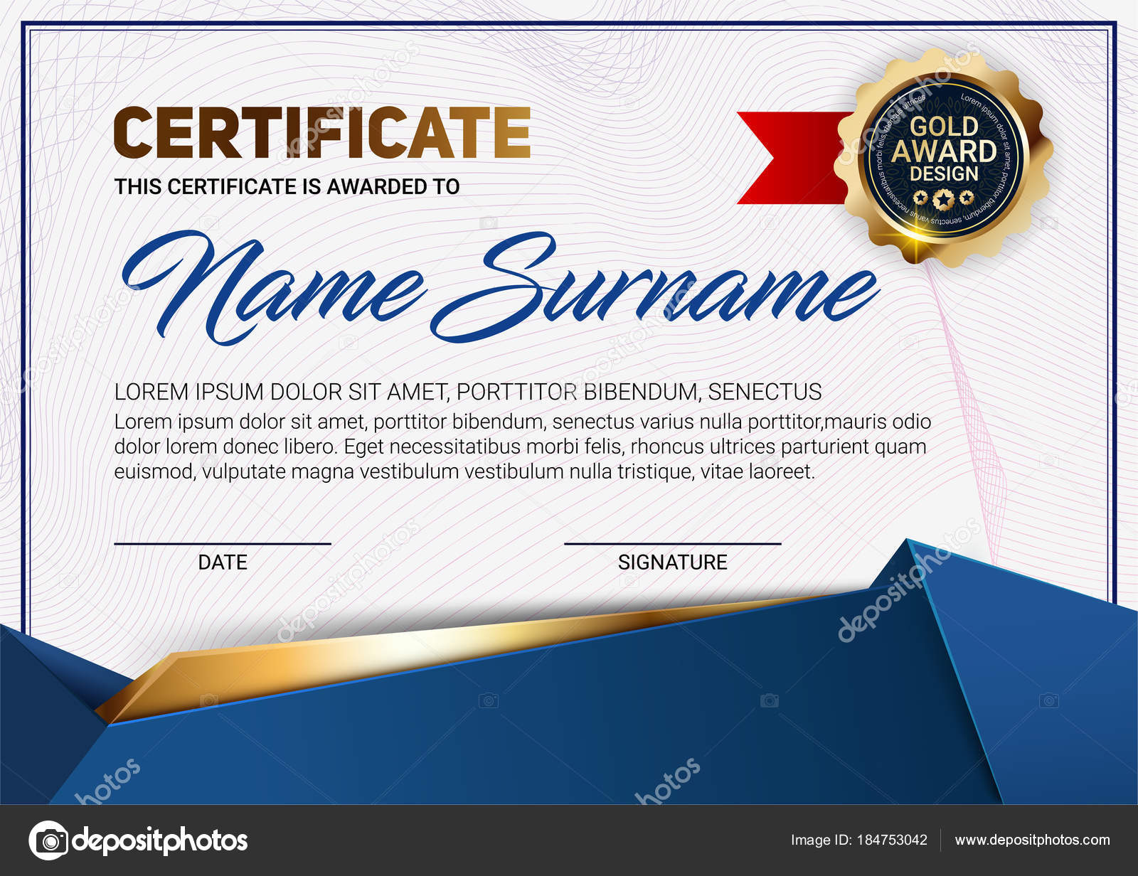 Vector certificate or diploma template with luxury line pattern and vector certificate or diploma template with luxury line pattern and gold award emblem vector illustration yelopaper Choice Image