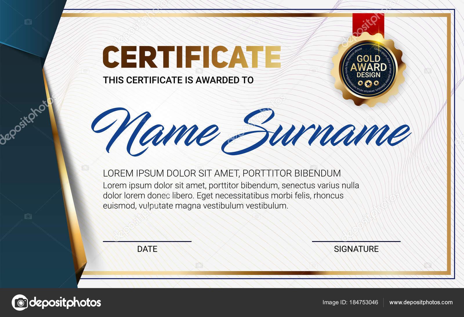 Vektor-Zertifikat oder Diplom-Vorlage mit Luxus Linienmuster und ...