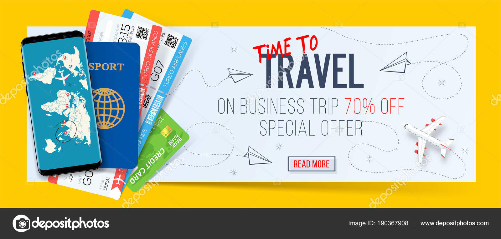 Special offer on business Travel. Business trip banner. Passport ...