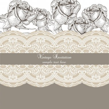 Vintage Roses and lace Invitation card