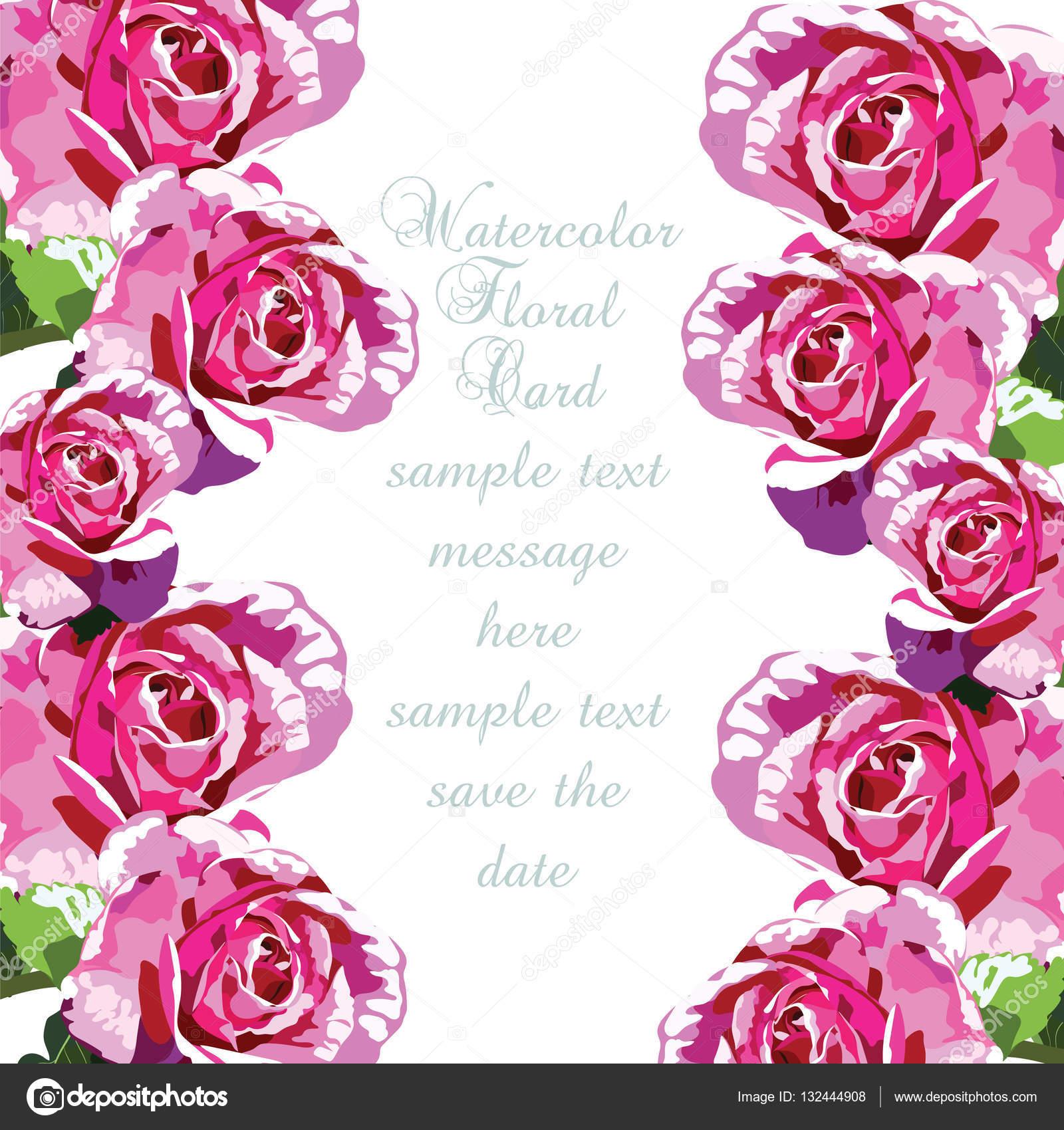 Sulu Boya Pembe Gül çiçek Kartı Stok Vektör Inagraurymailcom
