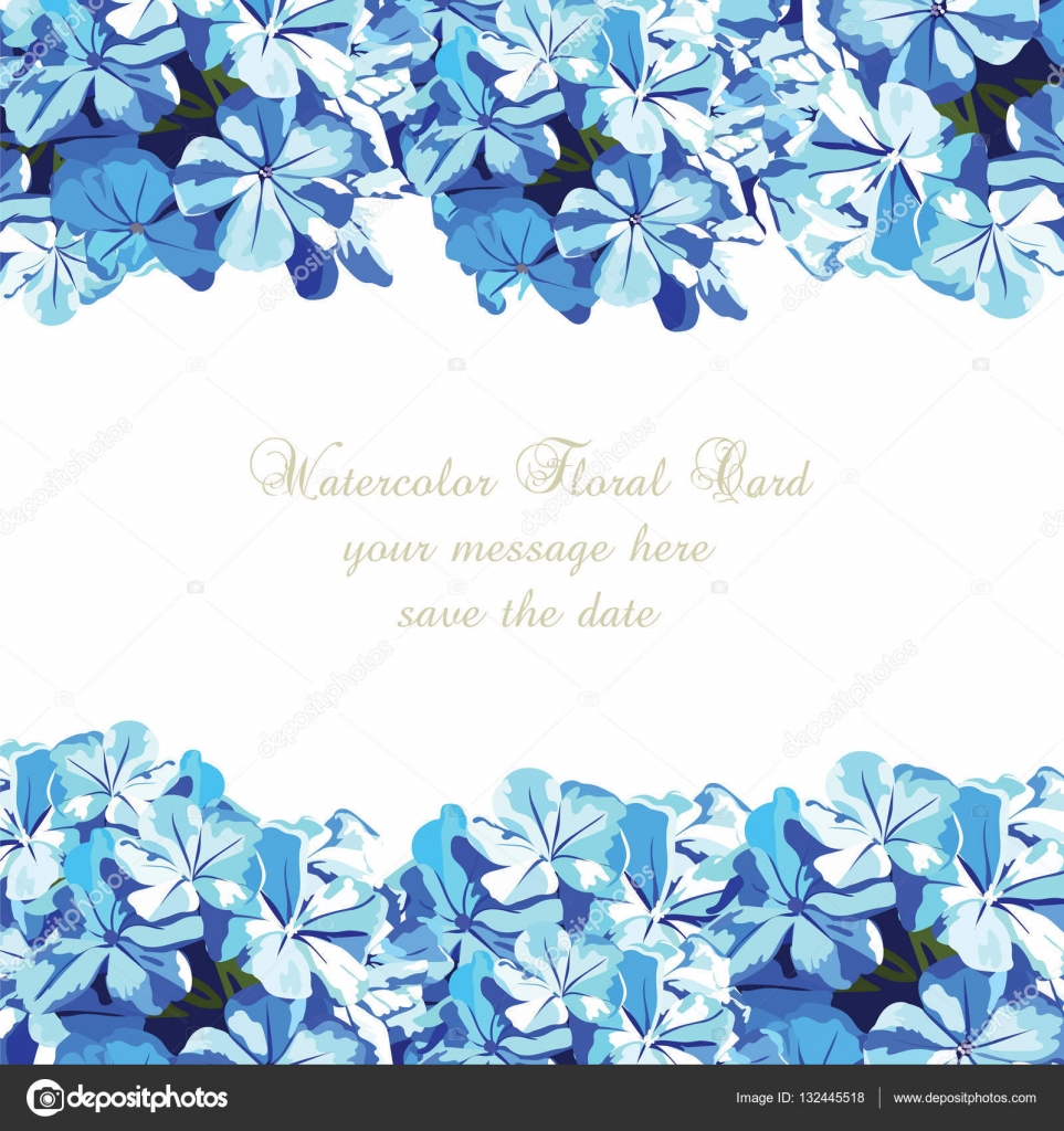 Tarjeta De Flores De Color Azul Acuarela Vector De Stock