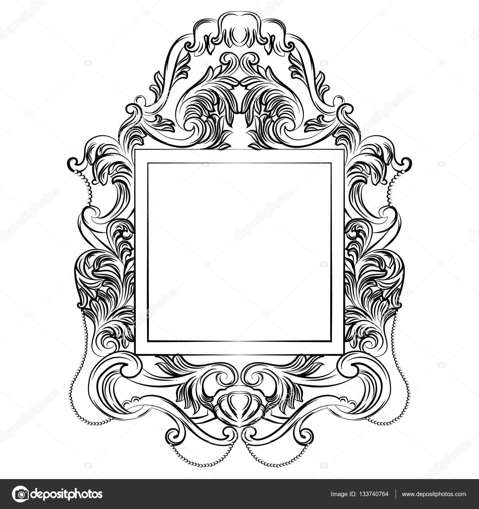 Exquisite fabelhafte Imperial Barock-Spiegel-Rahmen — Stockvektor ...