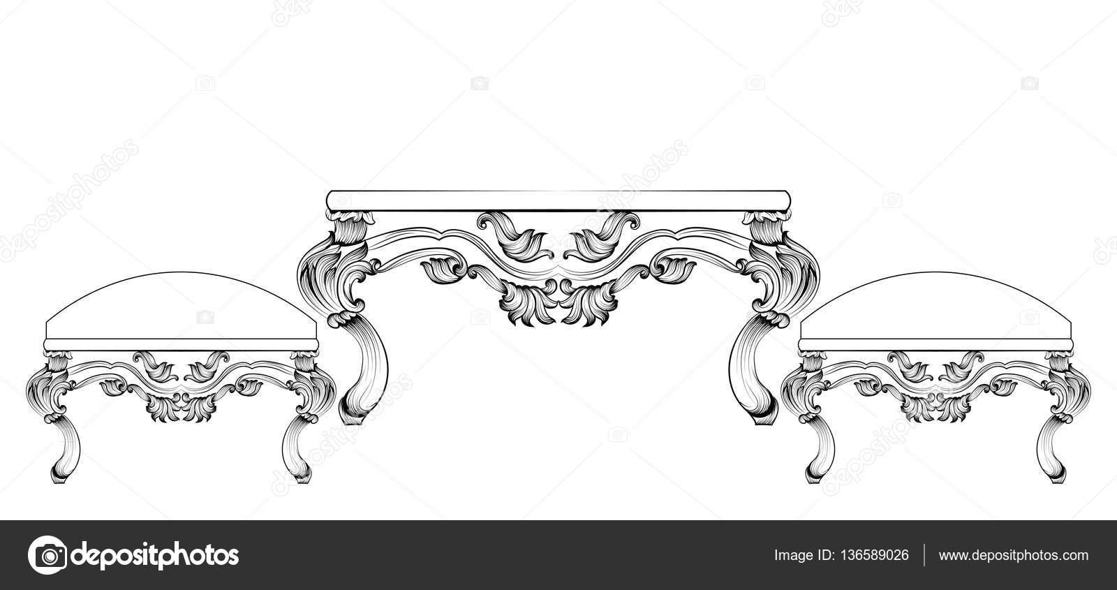 Barocker Luxus Stil Möbel Tisch und Stühle set Sammlung ...