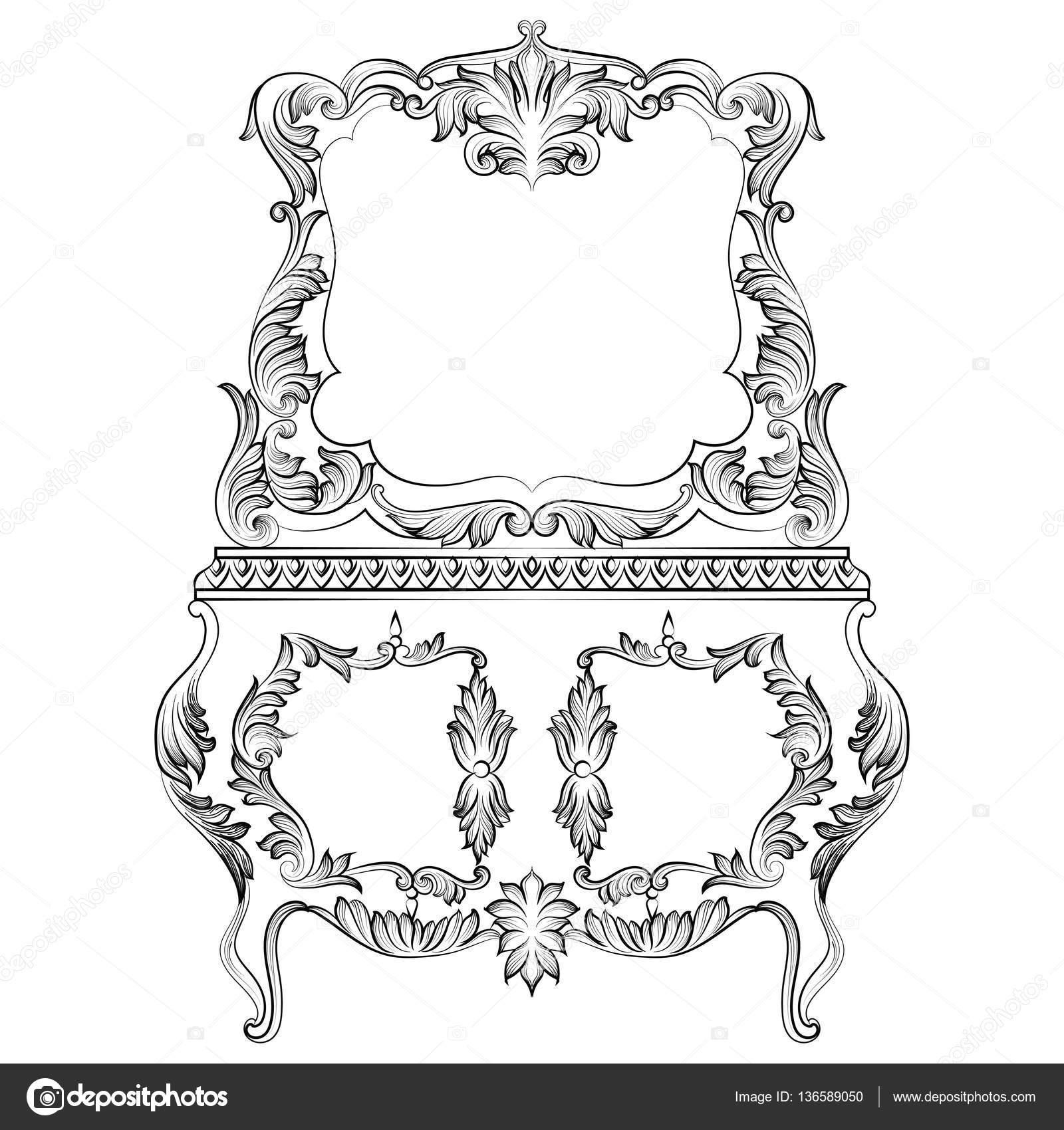 Fabelhafte Barock Konsolentisch und Spiegel-Rahmen festlegen. Vektor ...