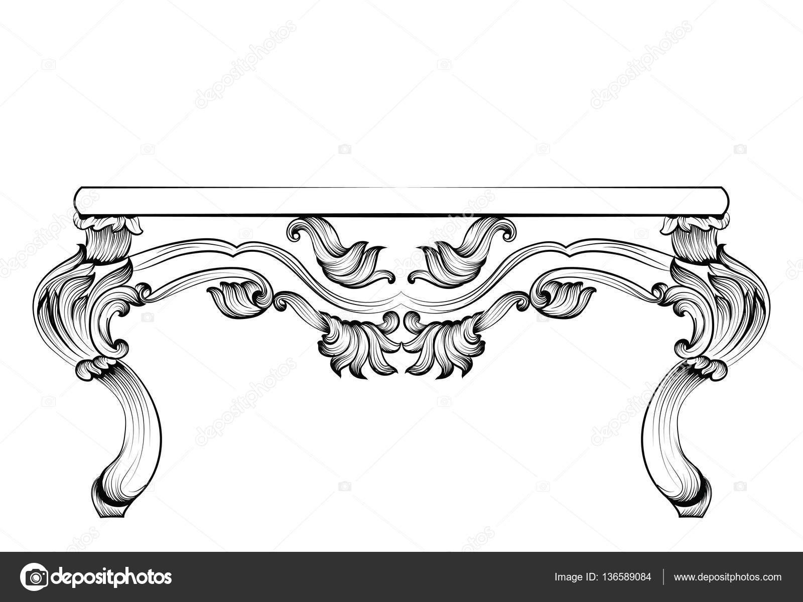 Reiche Barock Tisch. Französischer Luxus geschnitzten Ornamenten ...