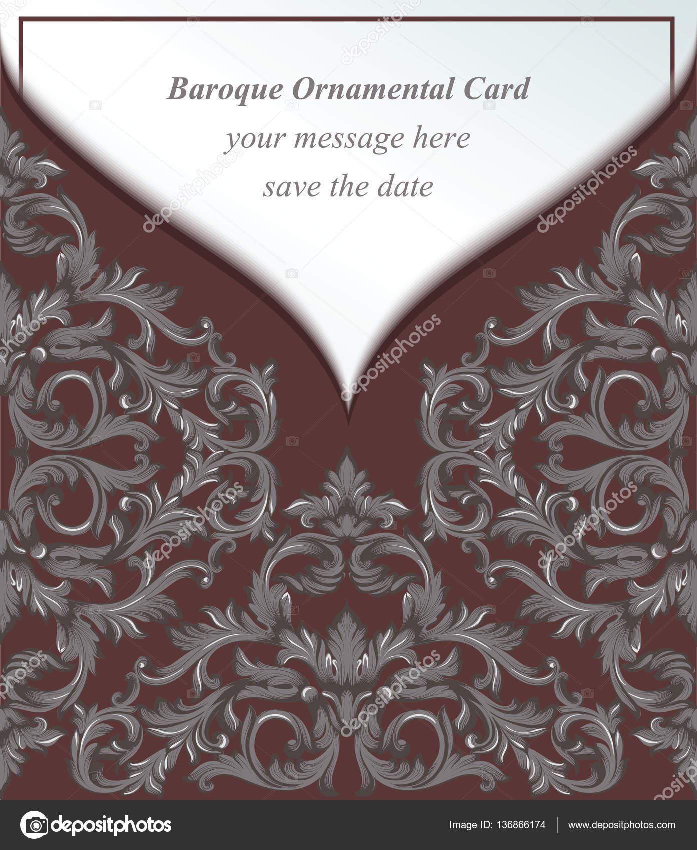 Vintage Koperty Barokowym Stylu Imperial Karty Zaproszenie Tło