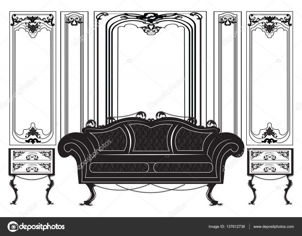 Sistema de los muebles vintage estilo gótico — Vector de stock ...