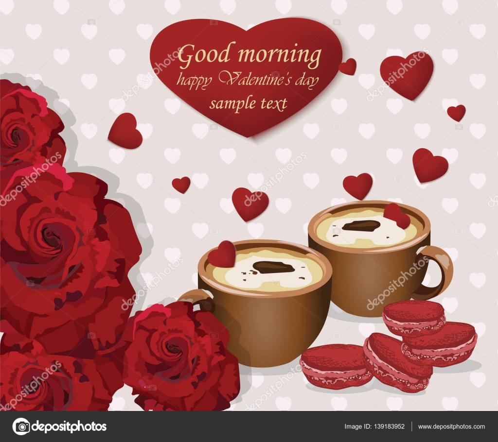 Good Morning Amore : Due tazze di caffè e amaretti velluto rosso sullo