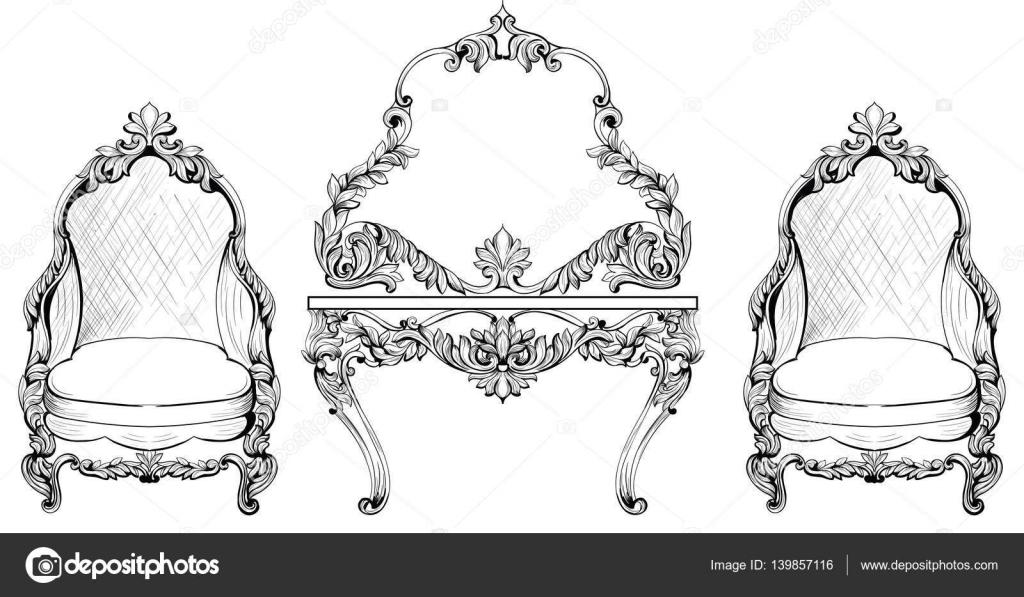 Reiche Barock Rokoko Sessel und Schminktisch gesetzt. Französischer ...