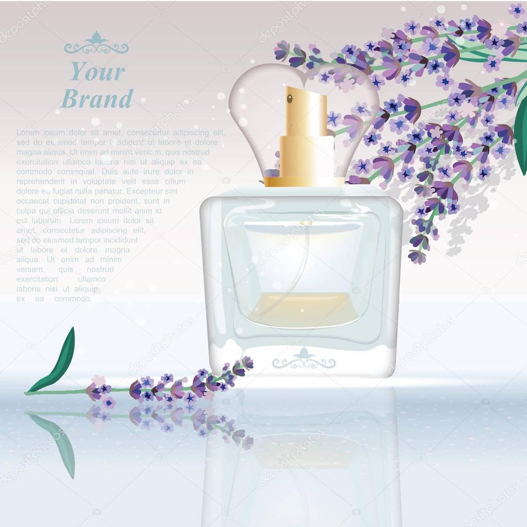 Lavender Perfume bottle Cosmetic ads template, droplet mock up isolated on dazzling background. Place for brand text. Glamorous fragrance sparkling effects. Vector illustration