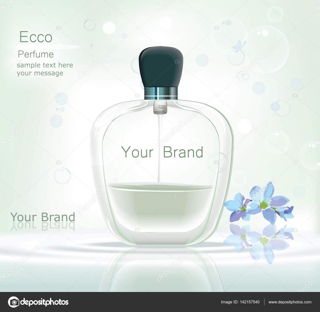 9a0b1bd635 Parfüm üveg kozmetikai hirdetések sablon, csepp palackot modell akár  elszigetelt káprázatos kék háttér. Hely a márka szövegek. Elbűvölő illat  csillogó ...