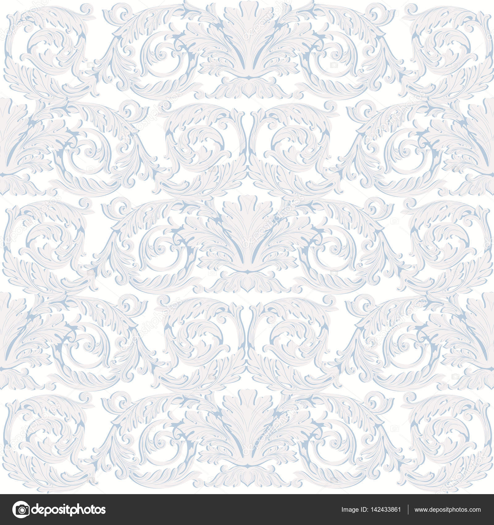 Vintage Baroque Damask Floral Pattern Acanthus Imperial Style Vector Decor Background Luxury Classic Ornament Royal Victorian Texture For Wallpapers