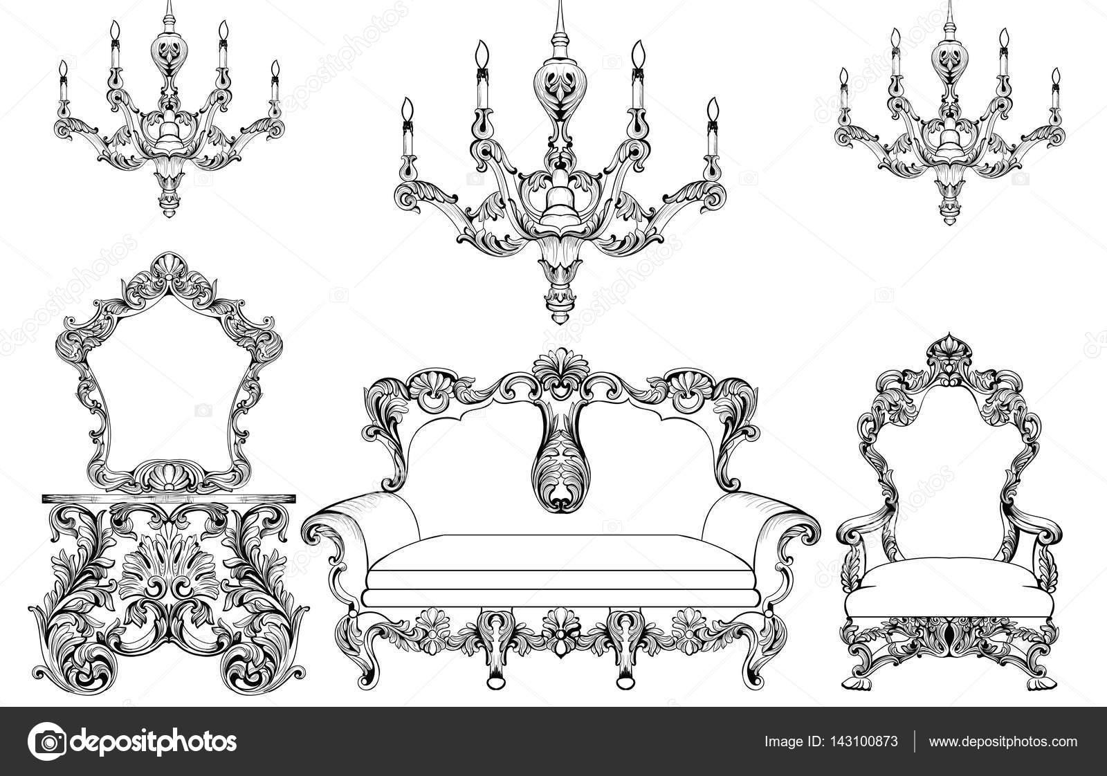 Exquisite Fabelhafte Imperial Barock Möbel Und Kronleuchter Satz  Eingraviert. Vektor Französisch Luxus Reiche Komplizierte Verzierten  Struktur.