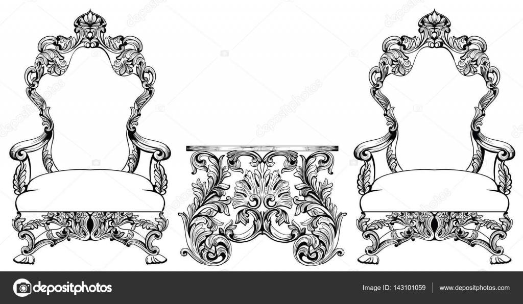 Rico barroco rococ juego de sill n y mesa lujo franc s for Decoracion rococo