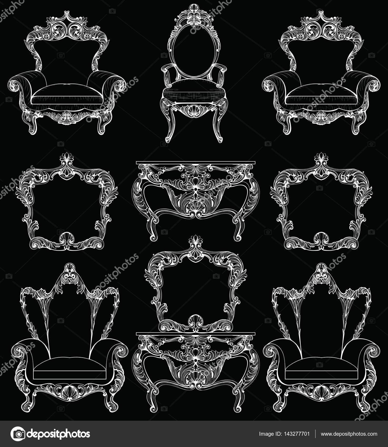 Exquisite Fabelhafte Imperial Barock Möbel Set Graviert. Vektor Französisch  Luxus Reiche Komplizierte Verzierten Struktur.