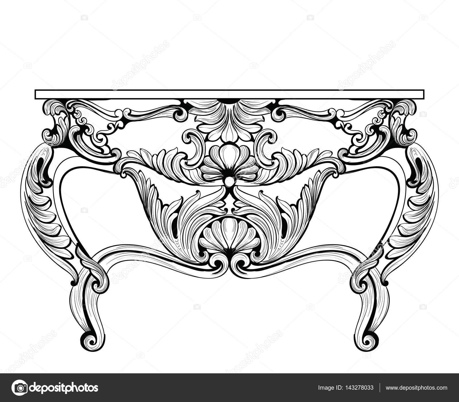 Exquisita mesa de pecho fabuloso barroco Imperial con cajones ...