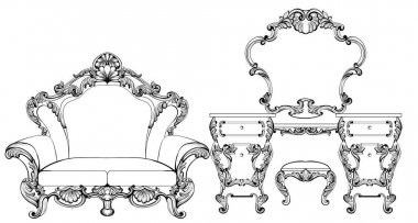 Exquisite Fabulous Imperial Baroque furniture and dressing table engraved. Vector French Luxury rich intricate ornamented structure. Victorian Royal Style decor