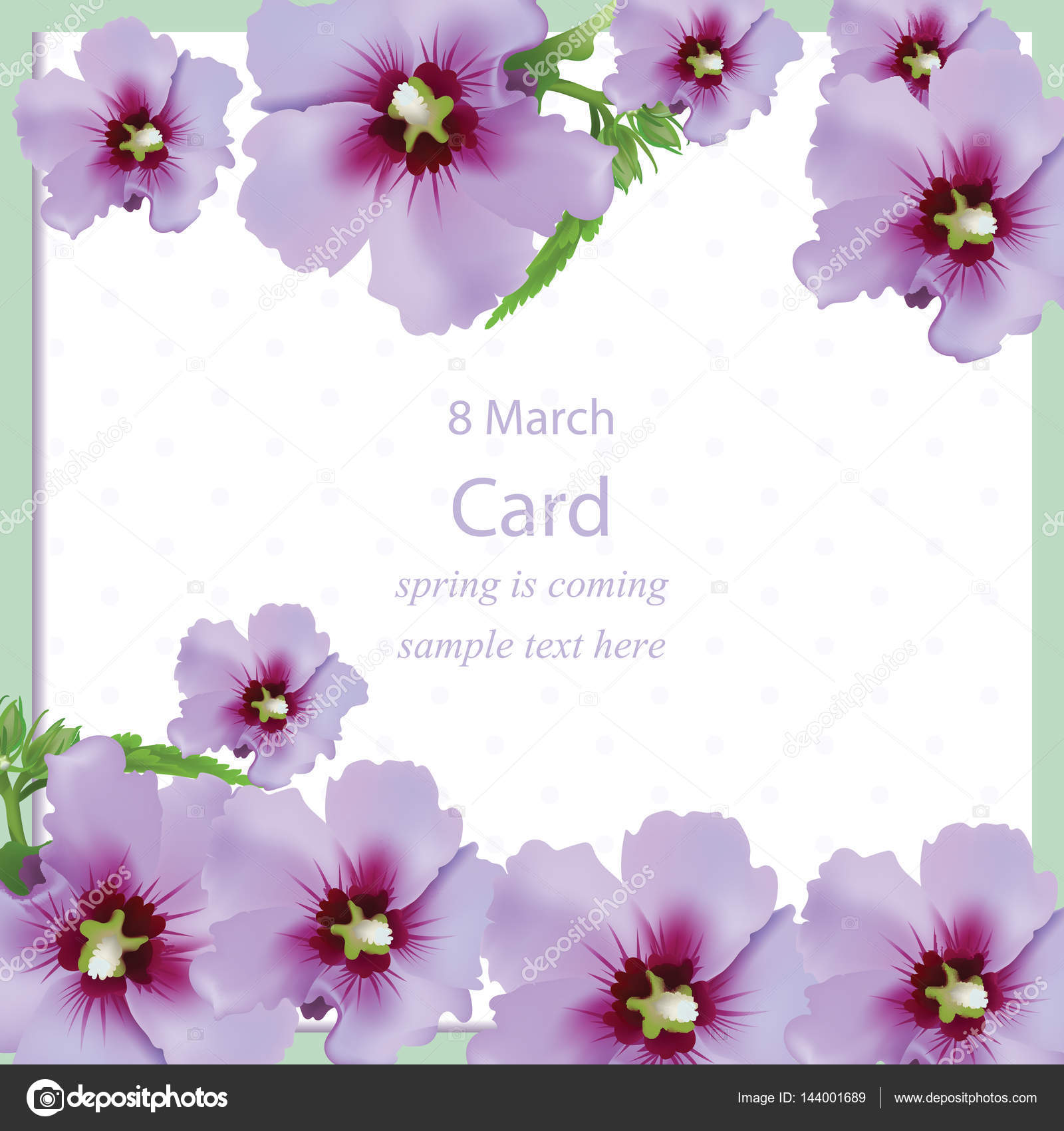 Spring Flowers Bouquet Card Background Beautiful Postcard For