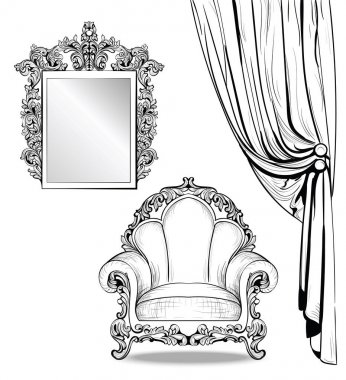 Exquisite Imperial Baroque armchair and mirror frame in luxurious ornament. Vector French Luxury rich intricate structure. Victorian Royal Style decor