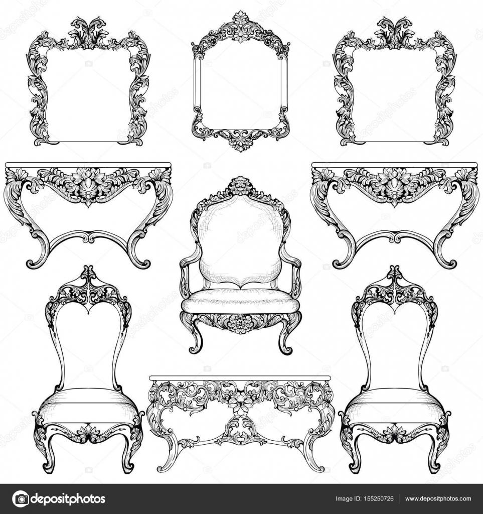 Rico barroco rococó set de muebles y marcos. De lujo francés tallada ...