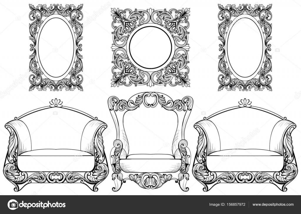 Rica Imperial barroco rococó set de muebles y marcos. De lujo ...