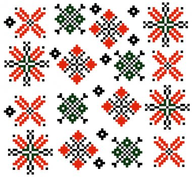 Moldovan Romanian ethnic ornament pattern set collection Vector