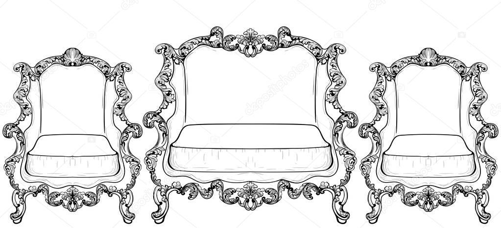 Mobili in stile barocco imperiale con ornamenti di lusso vector struttura intricata ricca di - Mobili in stile francese ...