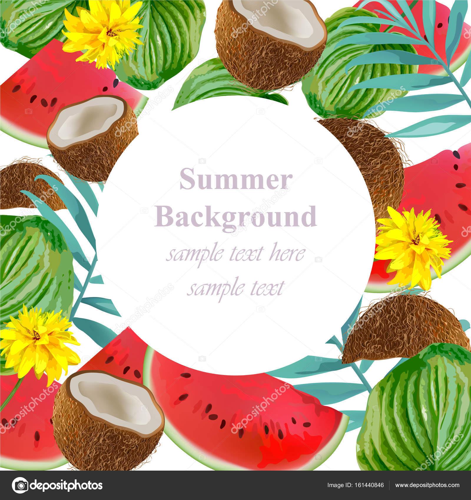 Tropischen Vektor Wassermelone und Kokosnuss-Karte. Summerl-Template ...