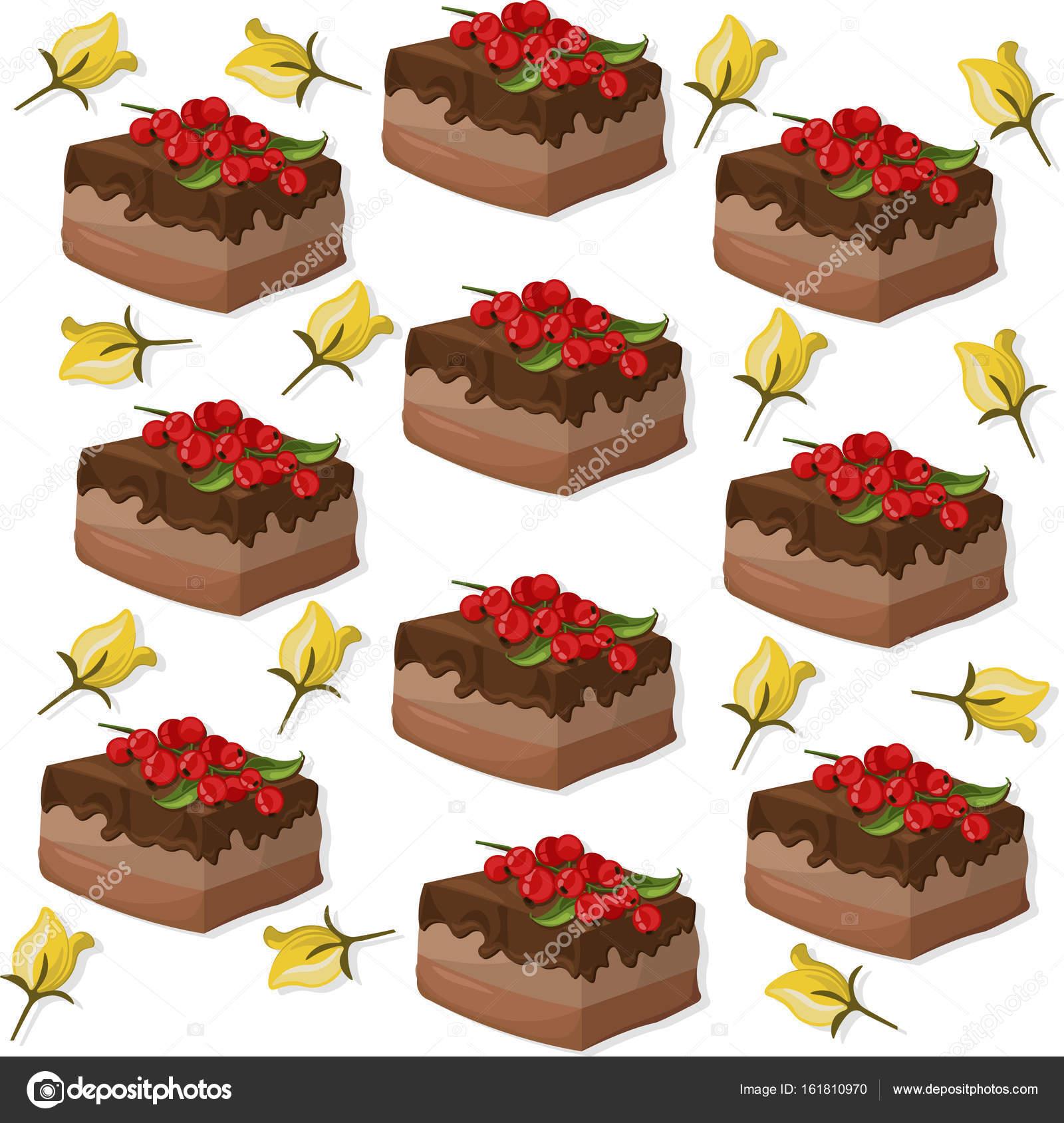 kuchen muster auf weiem hintergrund vektor illustration stockvektor - Kuchen Muster