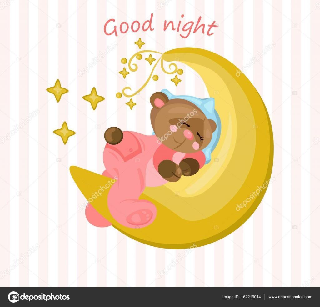 Gute Nacht-Karte mit Teddy-Bär auf dem Mond Vektor schlafen ...