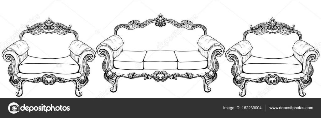 Wohnzimmer Möbel Set. Barock Sessel Mit Luxuriösen Verzierungen.  Vektor Französischen Luxus Reiche Komplizierte Struktur.