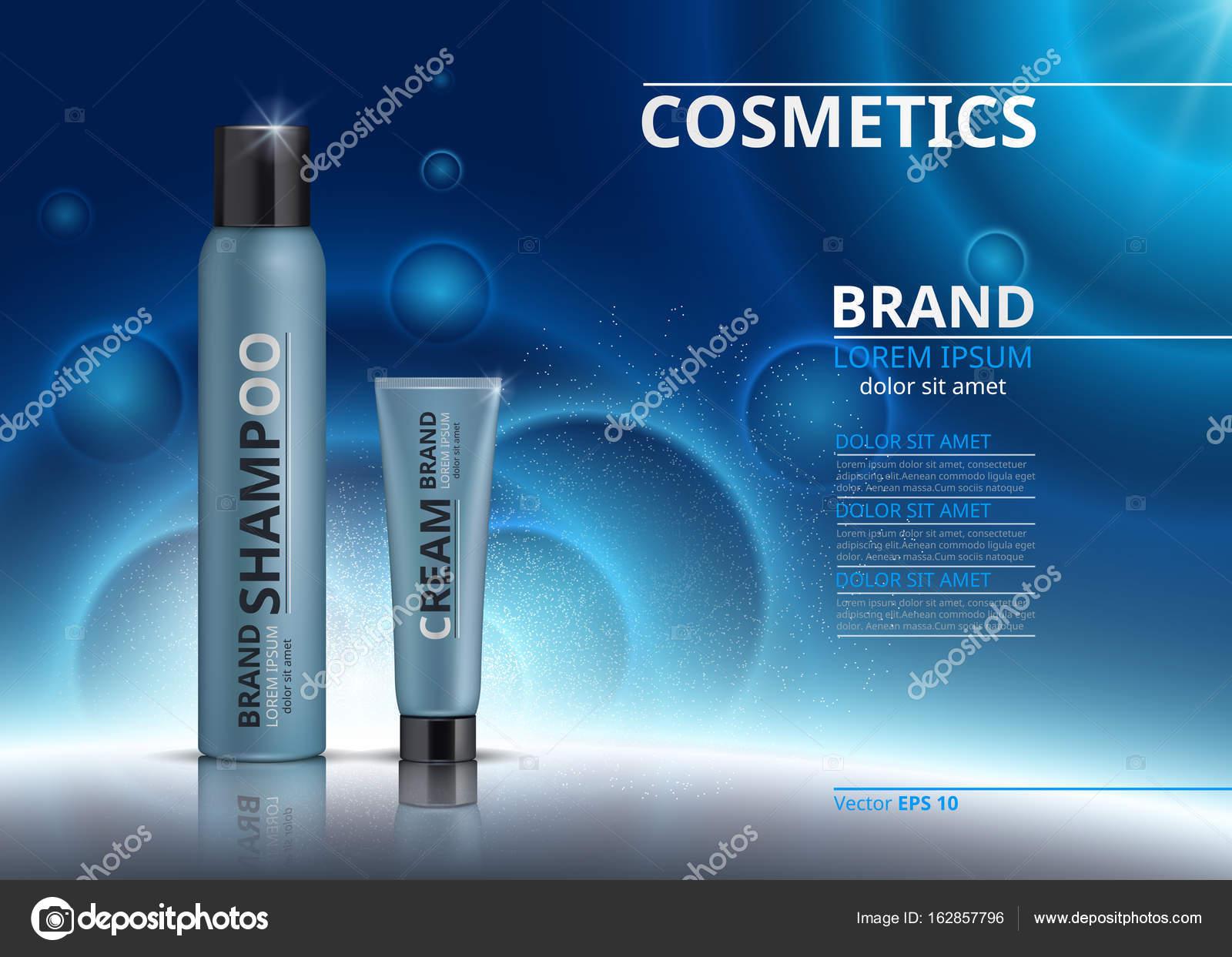 Kosmetisches realistische Paket Anzeigen-Vorlage ...
