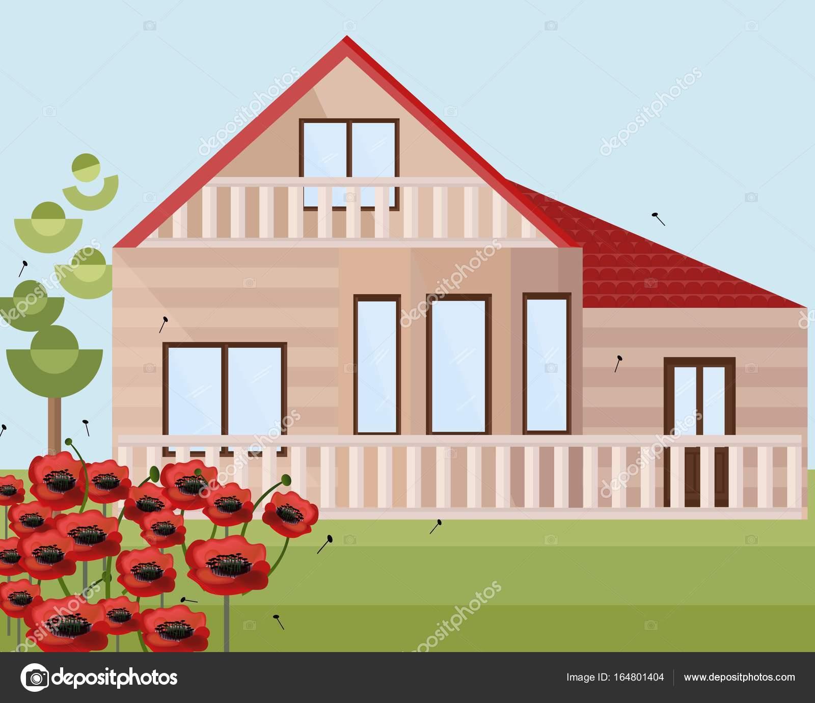 Verführerisch Häuser Stile Ideen Von Holz Oder Bauernhof-mohn Blumen-landschaft. Vektor-fassade-flach-stile — Vektor