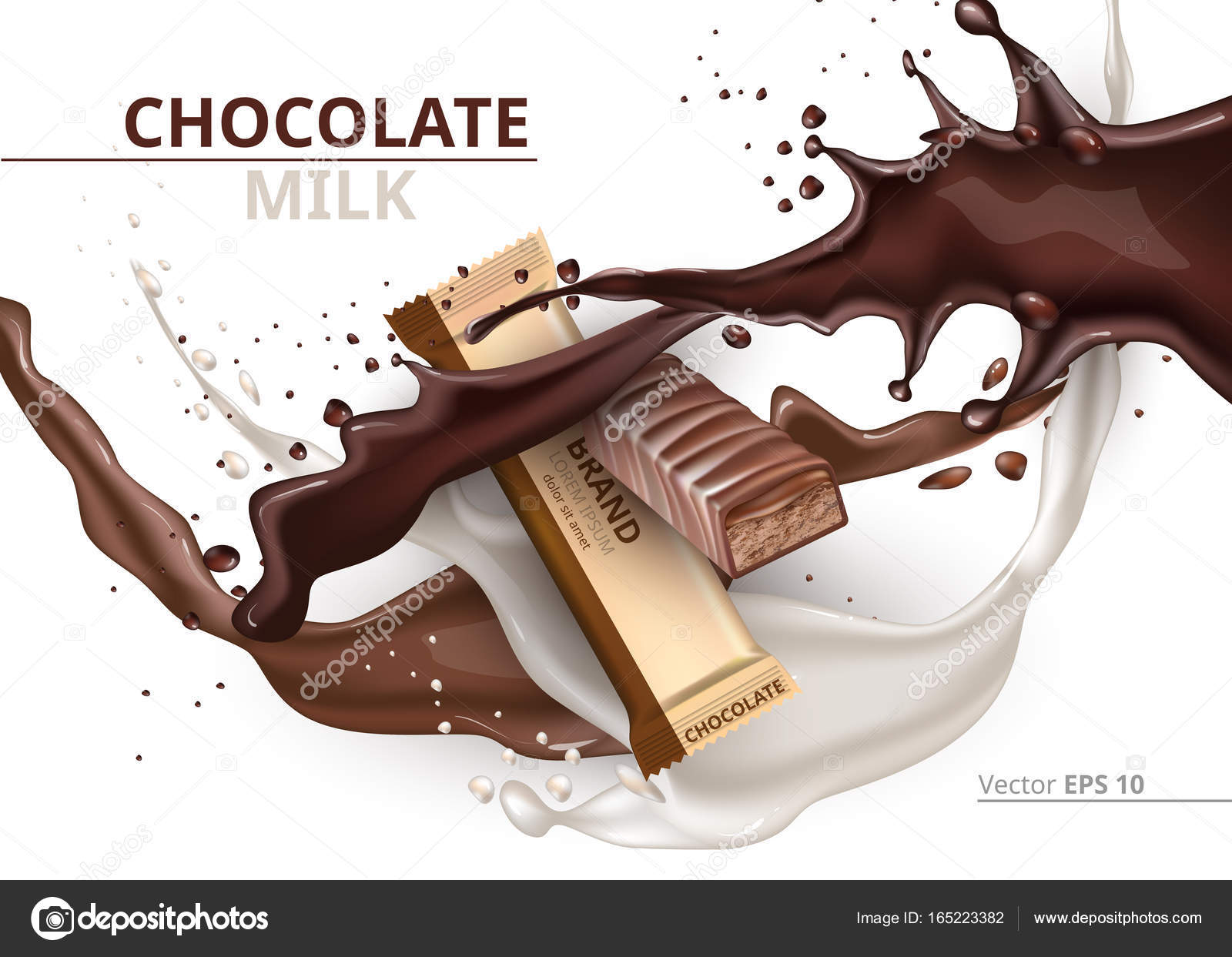 Chocolate bar caramelo realista Mock up diseño de etiqueta Vector ...