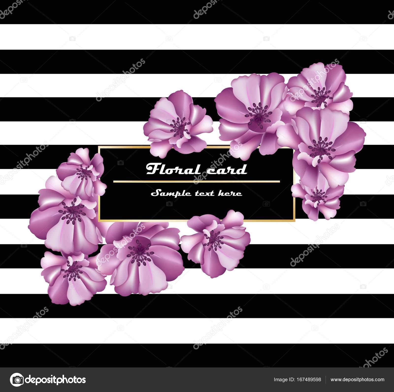 Flores de color púrpura Vector tarjetas marco sobre fondo de rayas ...