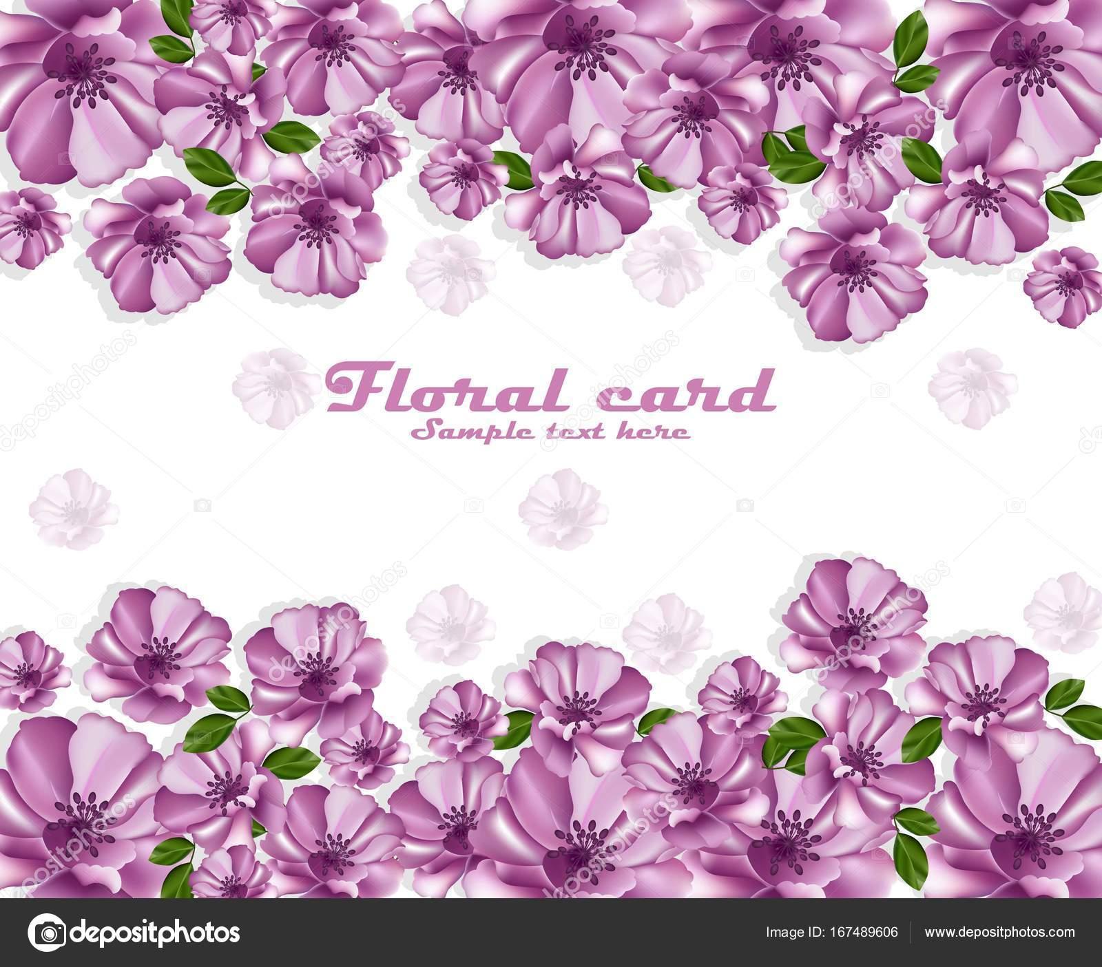 Marco de tarjeta de Vector de cartel de flores de color púrpura ...