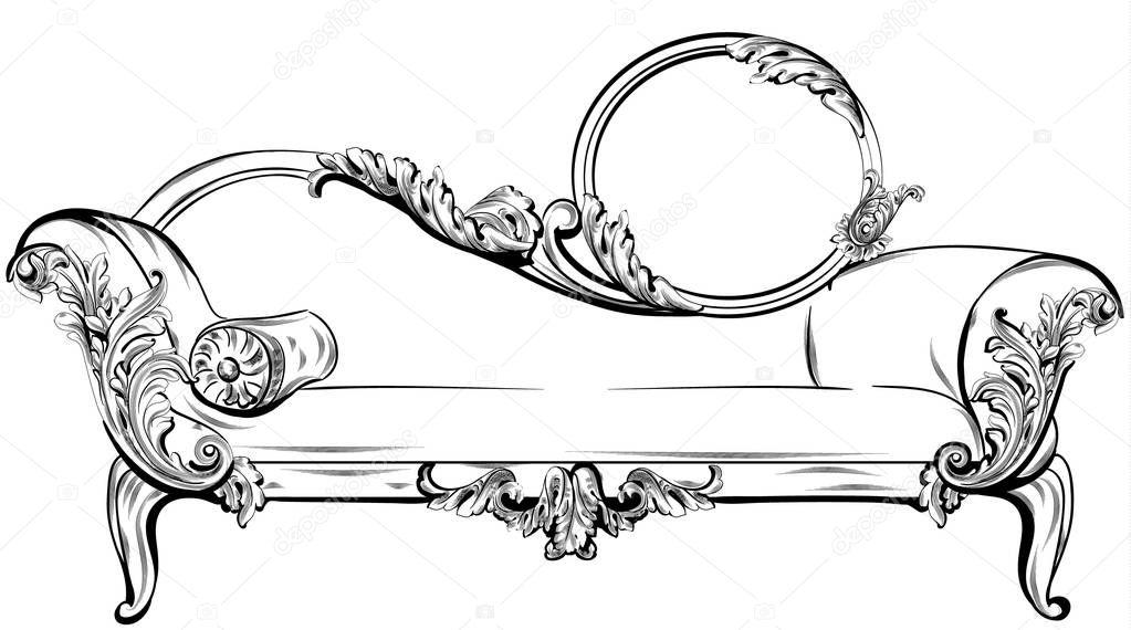 Vintage Barok Bankje.Sofa Or Bench With Rich Baroque Ornaments Elements Vector Royal