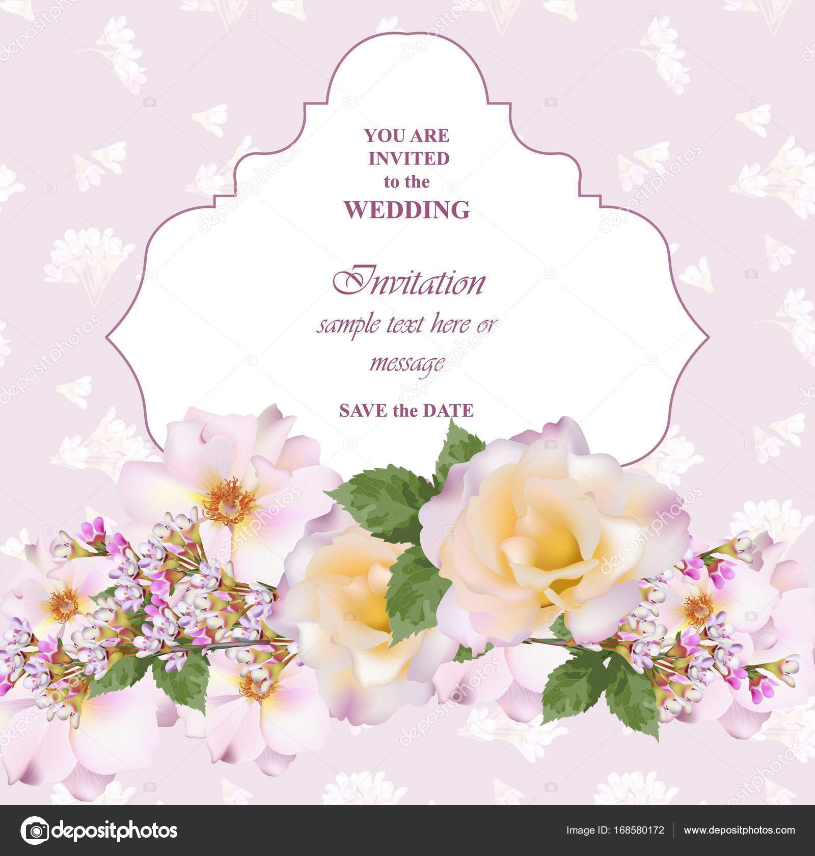 Wedding invitation card vector delicate rose and lavender flowers wedding invitation card vector delicate rose and lavender flowers primrose pink colors stock stopboris Choice Image