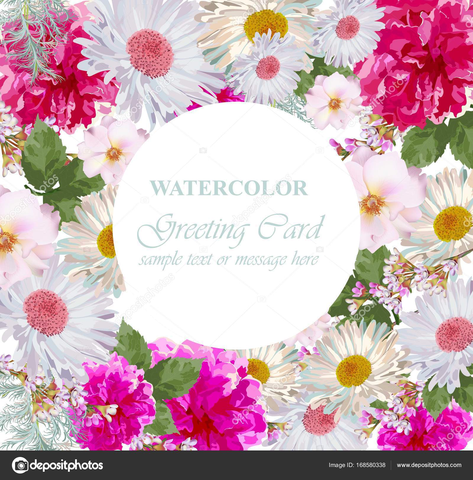 Watercolor Flowers Blossom Card Vintage Colorful Greeting Card