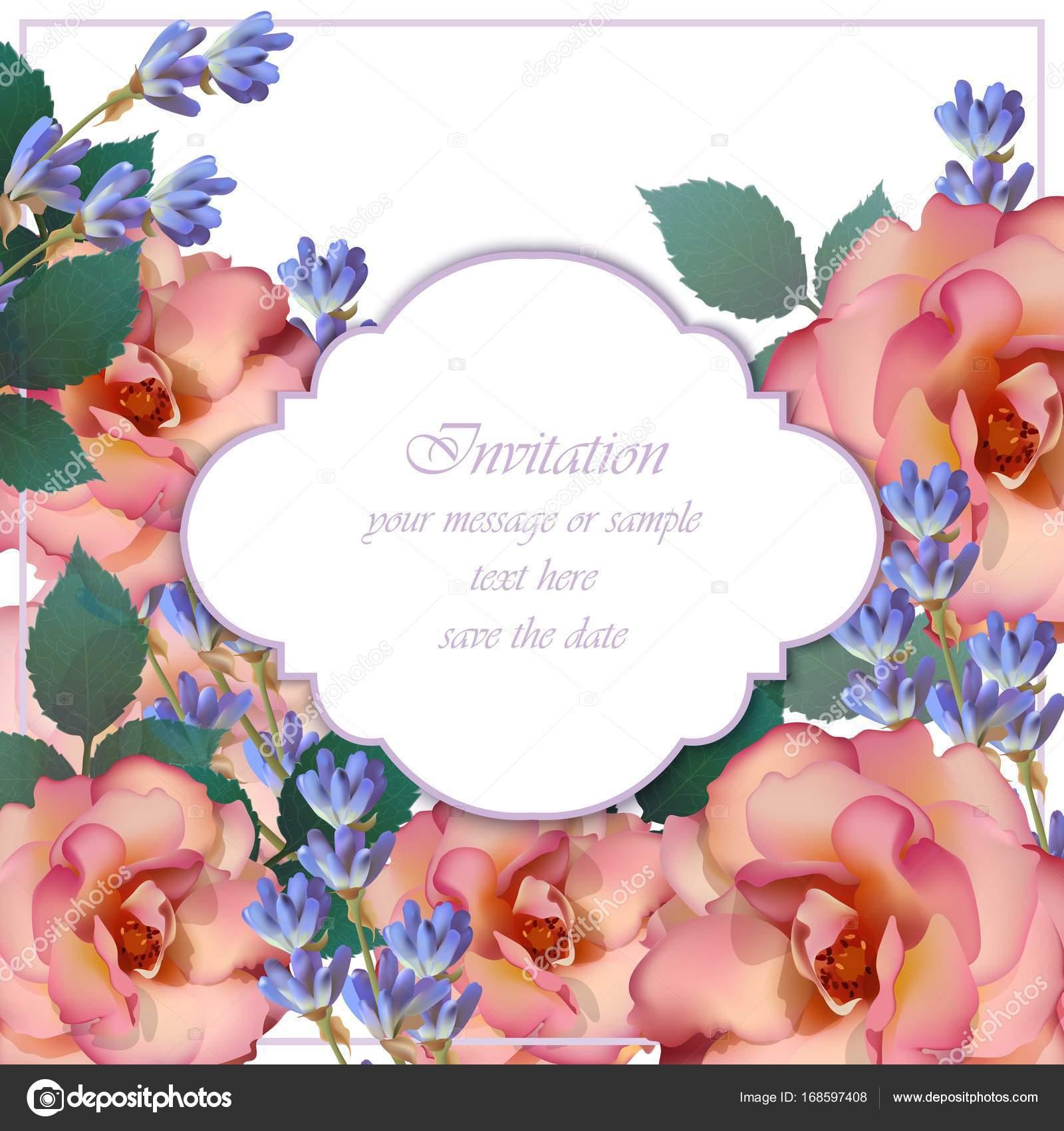 Vecteur De Carte D Invitation De Mariage Roses Et Fleurs De Lavande