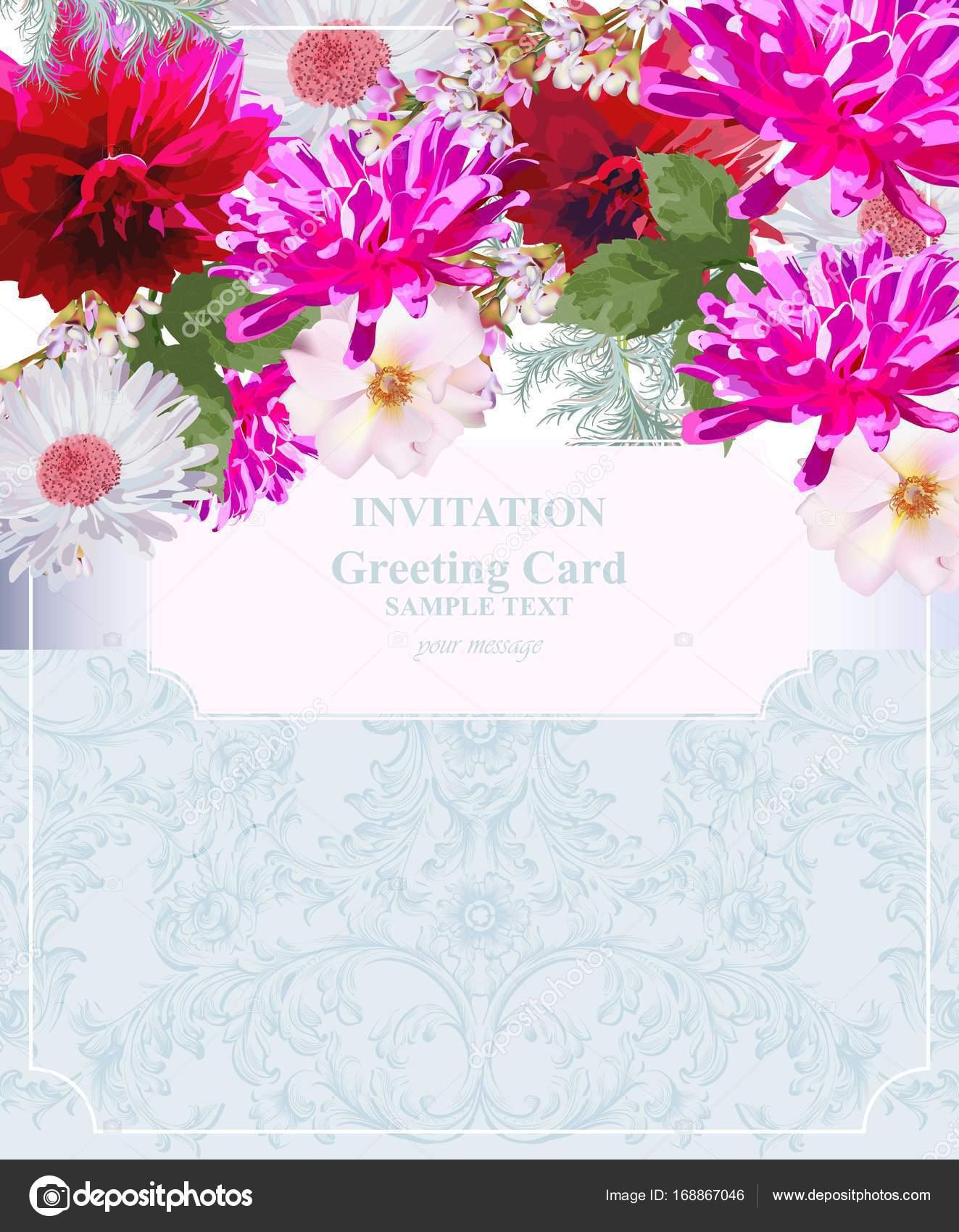 Einladung Karte Vektor. Bunte Blumen. Fuchsia pink Farben ...