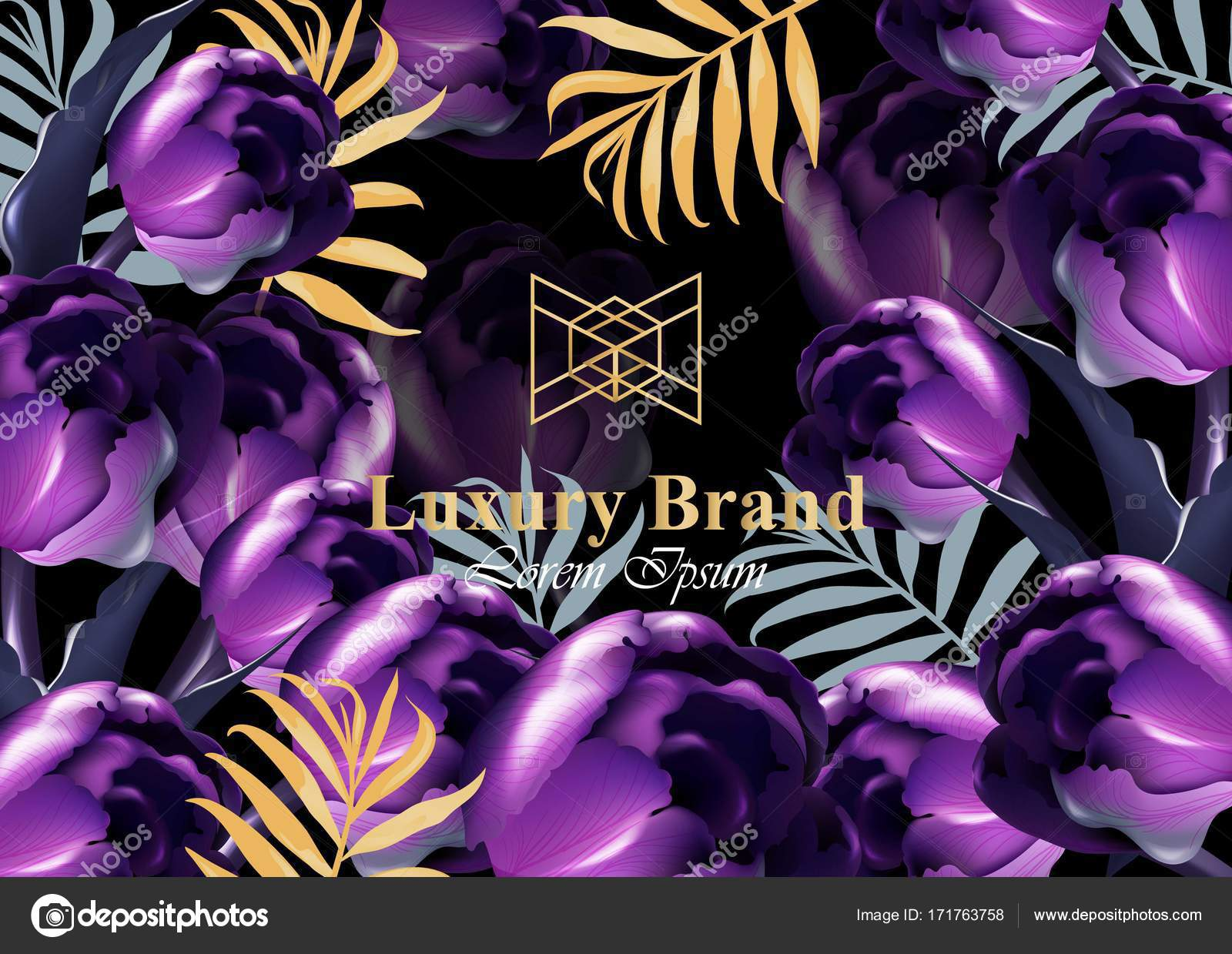 Luxury card with purple tulip flowers vector beautiful illustration luxury card with purple tulip flowers vector beautiful illustration for brand book business card or poster pink background place for text vector by reheart Image collections
